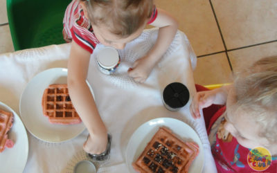 Yummy waffles with sprinkles galore!