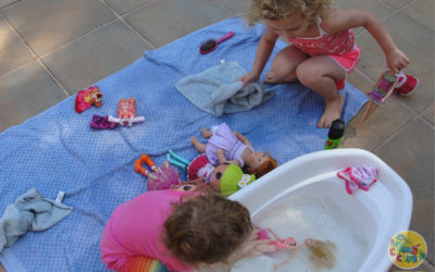 Water Play with a Toy Wash Station