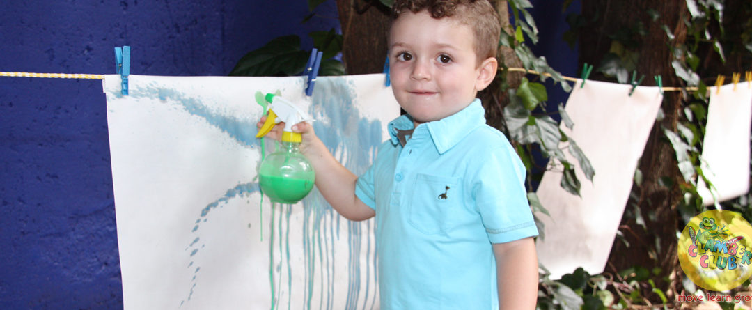 Spray painting fun with food colouring